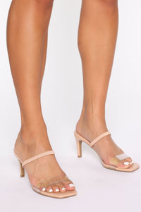 Cute Little Thing Heeled Sandals - Nude Angle 1