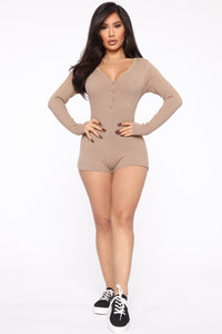 All Nighter Ribbed Romper - Taupe Angle 3