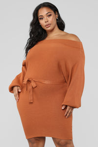 Ryleigh Off Shoulder Dress - Rust
