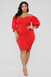 My Confession Off Shoulder Dress - Red Angle 6