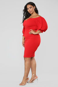 My Confession Off Shoulder Dress - Red Angle 7