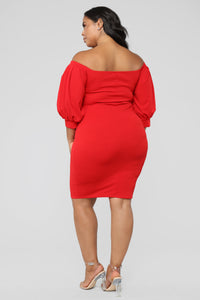 My Confession Off Shoulder Dress - Red Angle 8