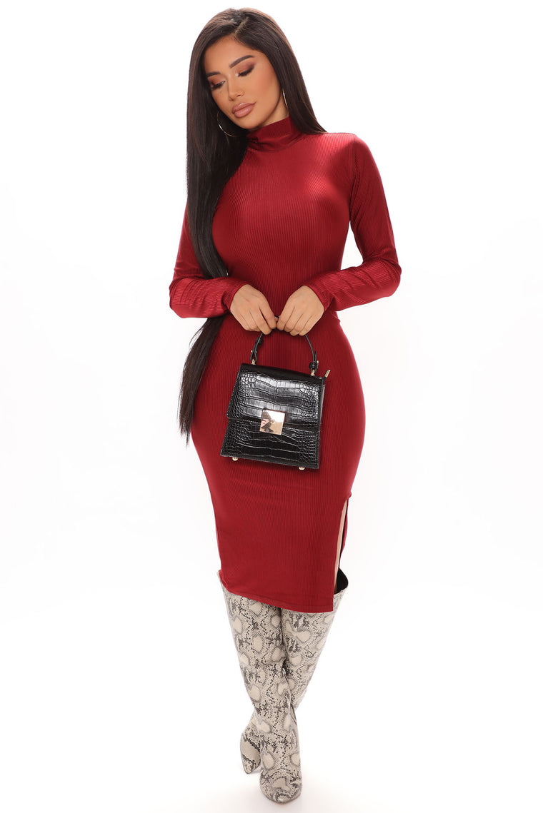 Slit Down Honey Turtleneck Midi Dress - Burgundy