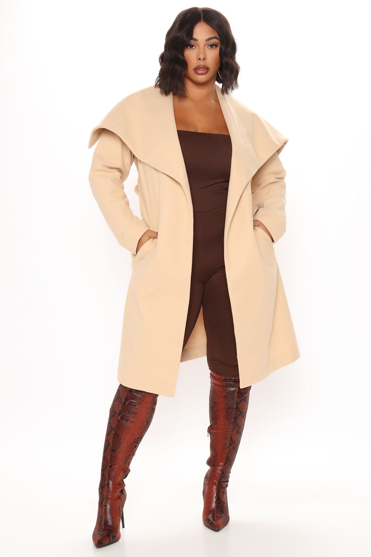 Walking In The Snow Wool Trench Coat - Khaki