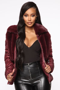 In The Loop Puffer Jacket - Burgundy Angle 1