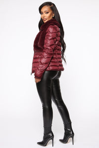In The Loop Puffer Jacket - Burgundy Angle 3