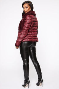 In The Loop Puffer Jacket - Burgundy Angle 5