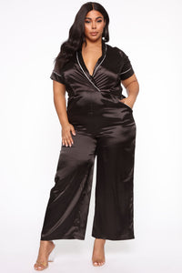 Seal The Deal Satin Jumpsuit - Black Angle 1