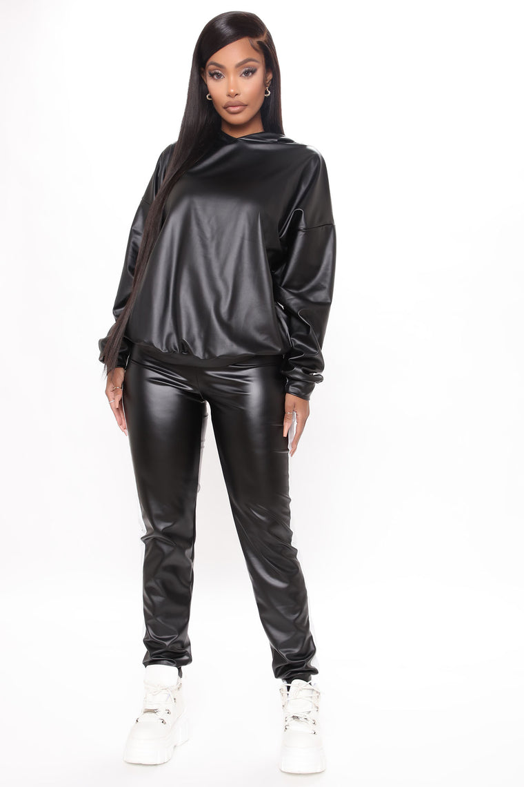 Acting Up PU Hoodie And Jogger Set - Black