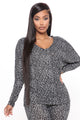 Get It Grrrl Leopard V Neck Top - Grey