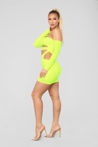 Light Up The Night Off Shoulder Dress - Neon Yellow