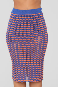 Bold Knit Skirt Set - Neon Orange