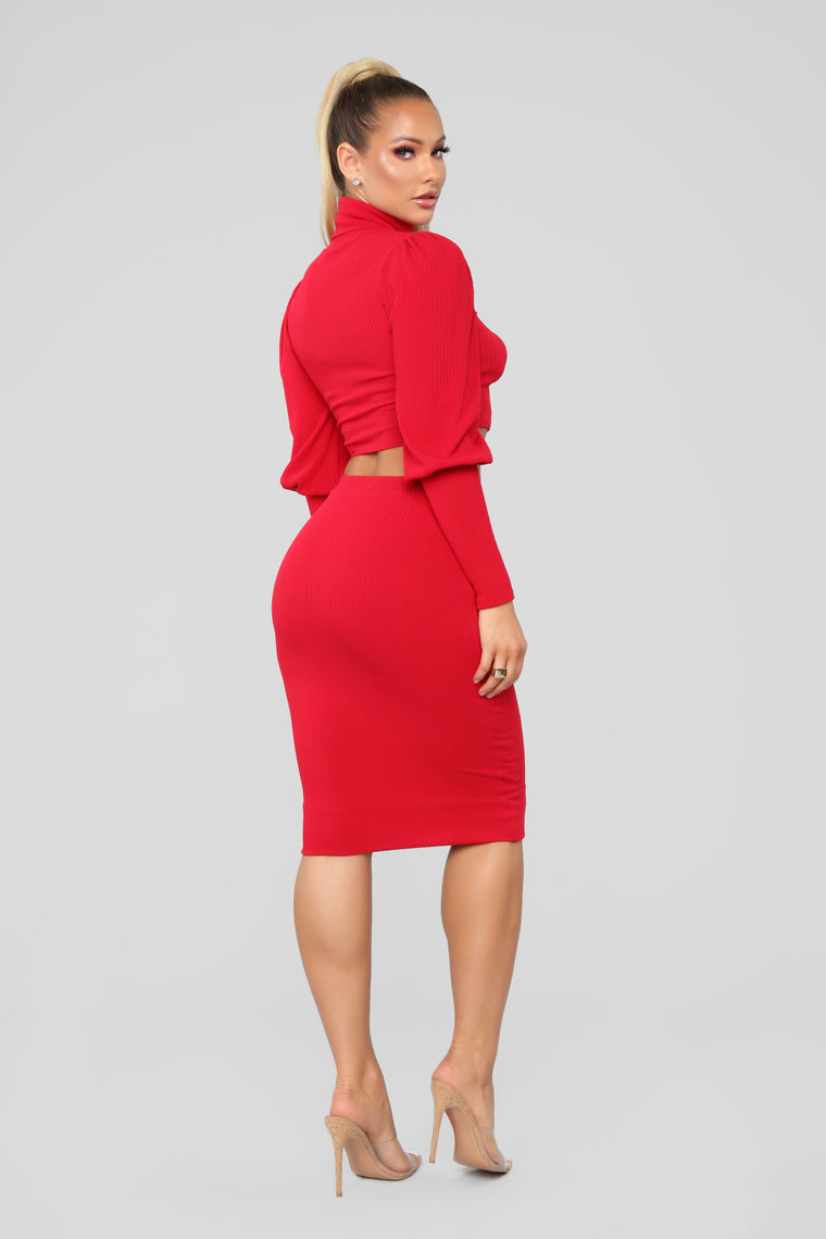 Obviously Into You Skirt Set - Red
