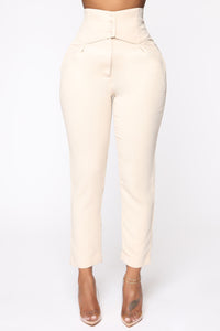 Finding Time High Waist Trousers - Taupe Angle 1