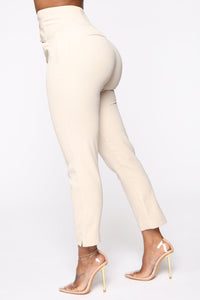 Finding Time High Waist Trousers - Taupe Angle 3