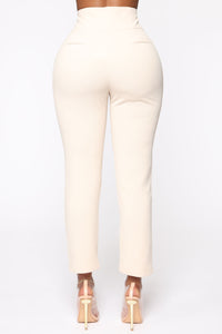 Finding Time High Waist Trousers - Taupe Angle 5