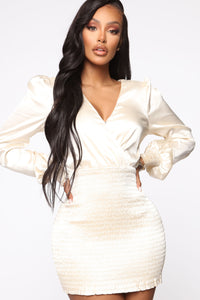 In Charge Satin Mini Dress - Ivory Angle 2