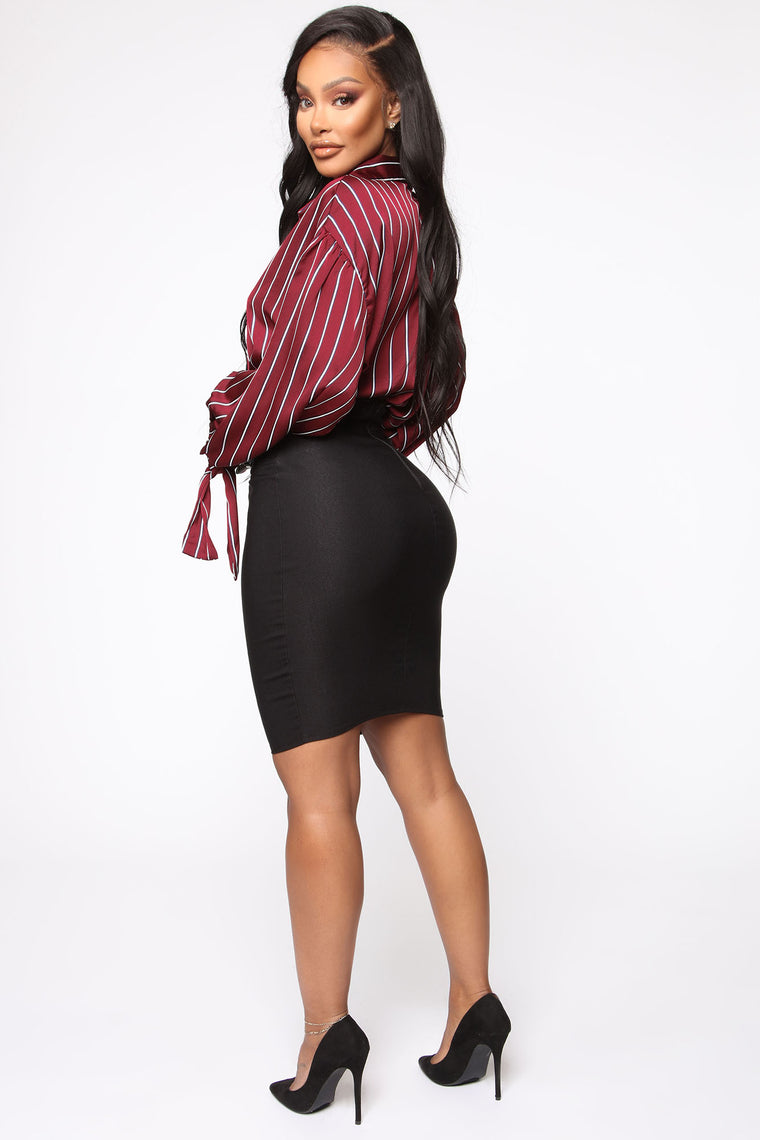 Can't Resist Super High Waisted Skirt - Black