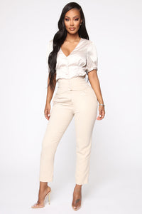 Finding Time High Waist Trousers - Taupe Angle 2