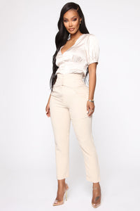 Finding Time High Waist Trousers - Taupe Angle 4