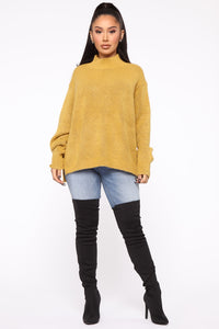 Too Close For Comfort Sweater - Mustard