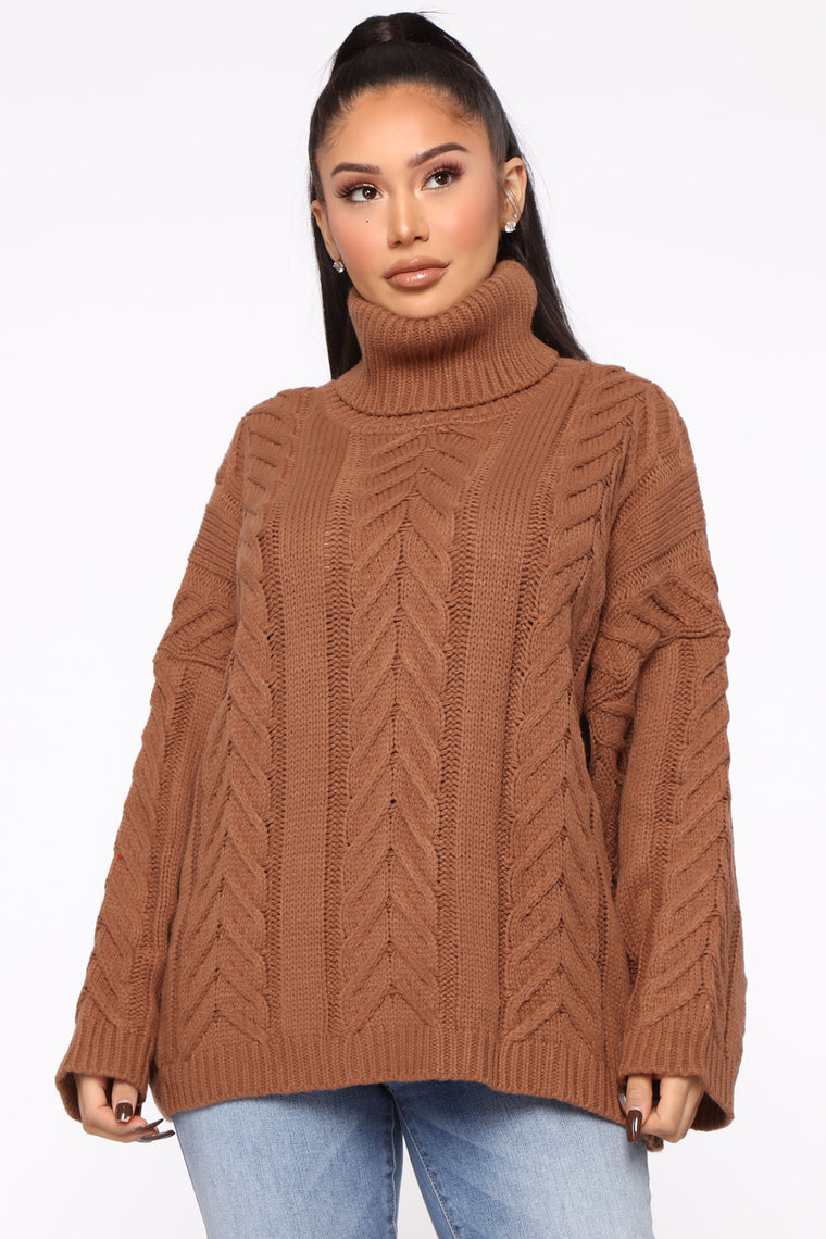 Just Ain't Knit Turtleneck Sweater - Brown