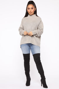 Too Close For Comfort Sweater - Grey
