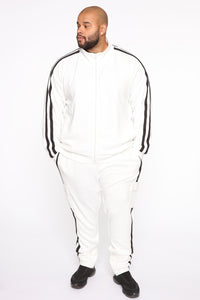 Post Track Jacket - White/Black Angle 7