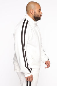 Post Track Jacket - White/Black Angle 8