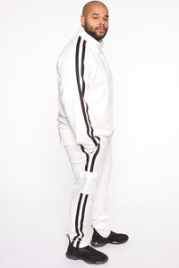 Post Track Jacket - White/Black Angle 9