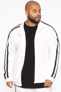 Post Track Jacket - White/Black Angle 6