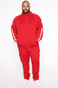 Post Cargo Track Pants - Red/Combo Angle 8