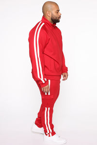Post Cargo Track Pants - Red/Combo Angle 10