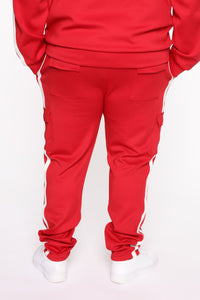 Post Cargo Track Pants - Red/Combo Angle 9