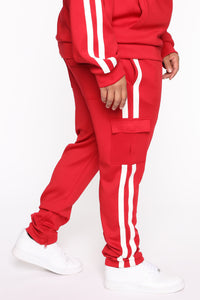 Post Cargo Track Pants - Red/Combo Angle 7