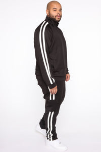 Post Cargo Track Pants - Black/White Angle 8