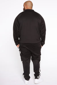Post Cargo Track Pants - Black/White Angle 12