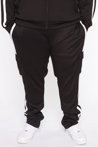 Post Cargo Track Pants - Black/White Angle 10