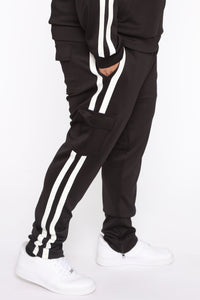Post Cargo Track Pants - Black/White Angle 7