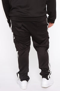 Post Cargo Track Pants - Black/White Angle 11