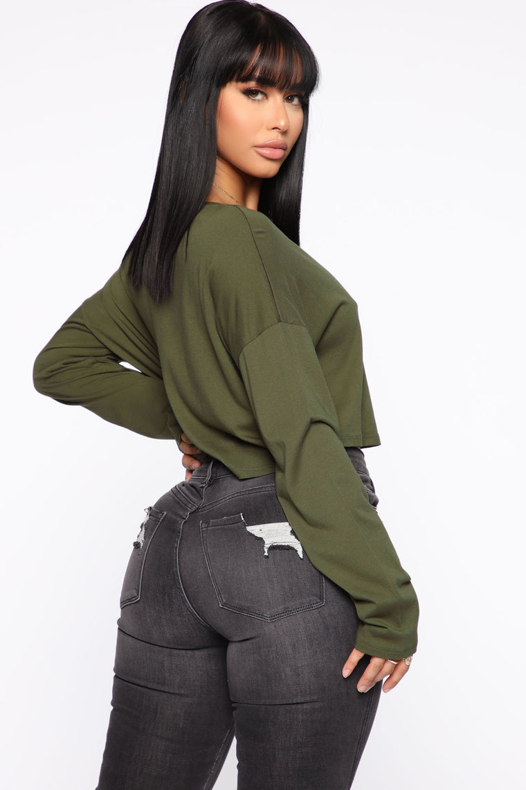 Classic Cropped Long Sleeve Top - Olive