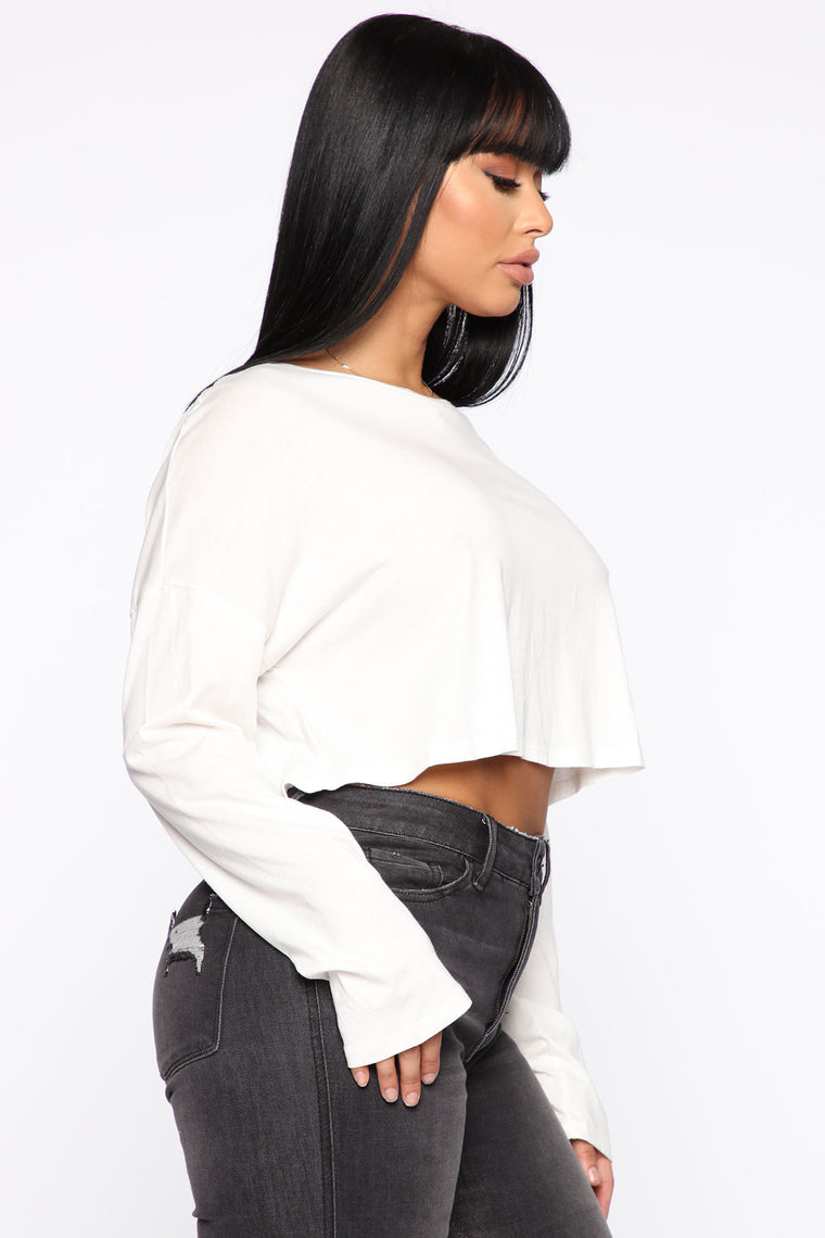 Classic Cropped Long Sleeve Top - White