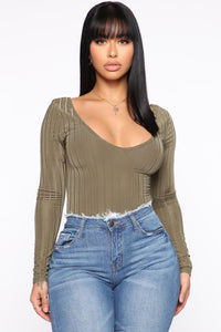 Love Me Less Bodysuit - Olive