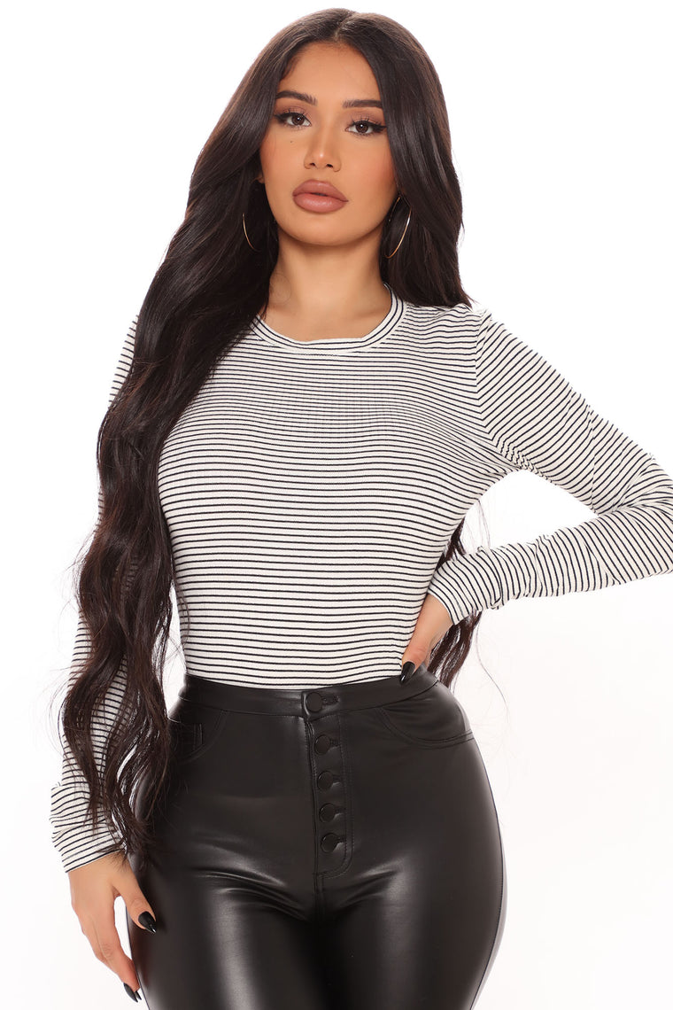 Rachael Ribbed Long Sleeve Top - White/Black