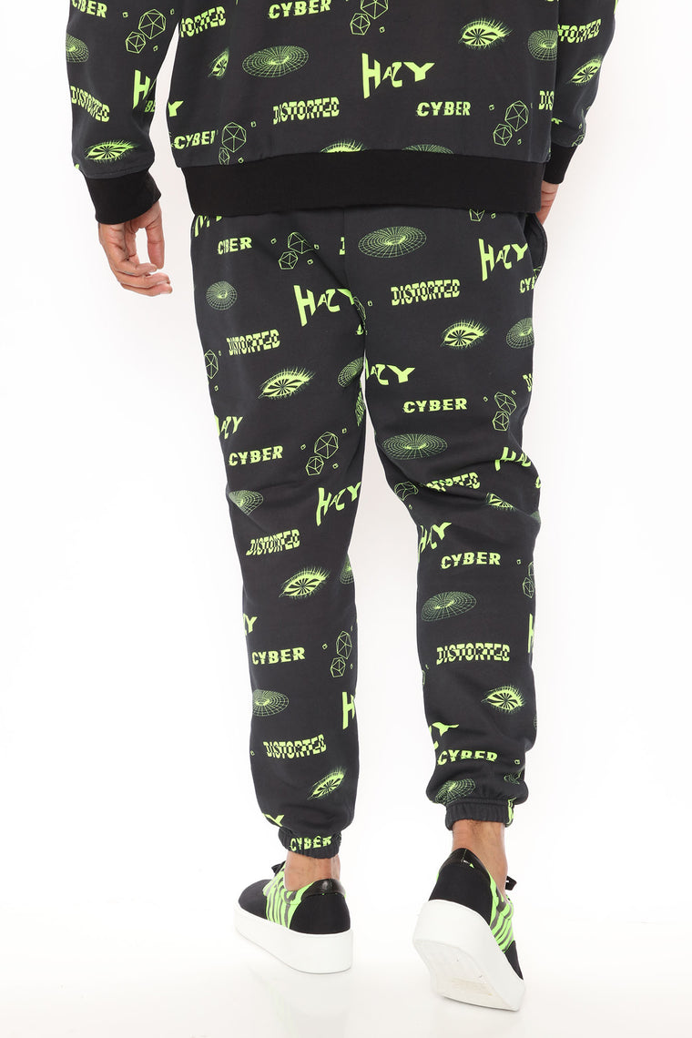 Cyber Vibes Sweatpant - Black/Green