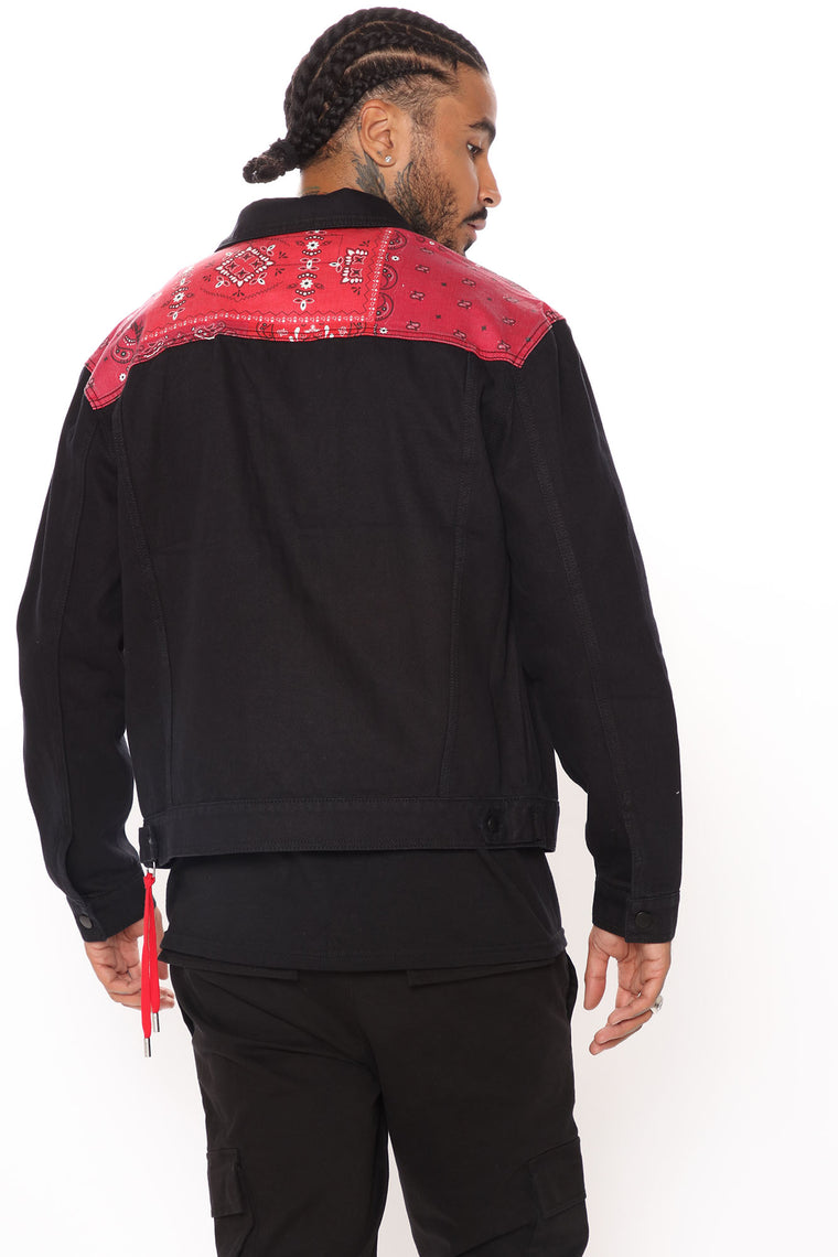 Contrast Bandana Denim Jacket - Black/Red