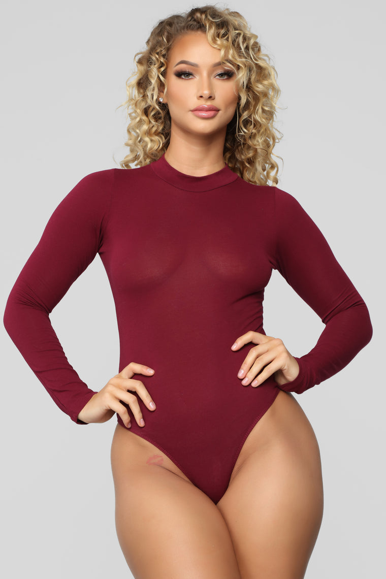Melanie Mock Neck Bodysuit - Burgundy