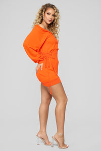 Rise And Grind Corset Dress - Neon Orange