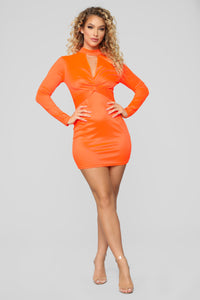 Be Knotty Mini Dress - Neon Orange Angle 2
