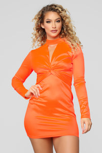 Be Knotty Mini Dress - Neon Orange